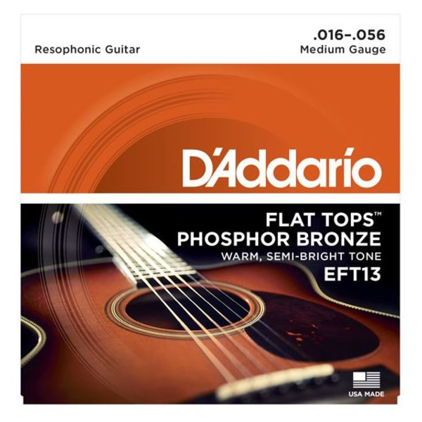 D'Addario D'Addario EFT13 Flat Tops Phosphor Bronze Acoustic, Resophonic Guitar, 16-56