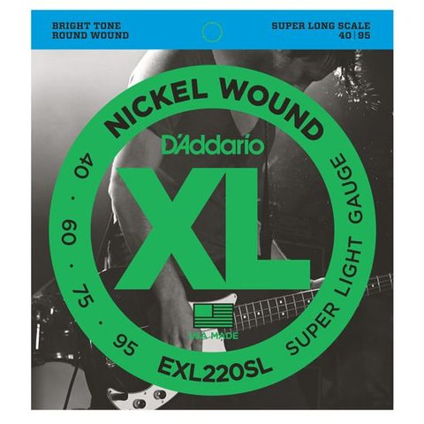 D'Addario EXL220SL Nickel Wound Bass Strings Super Light 40-95 Super Long Scale