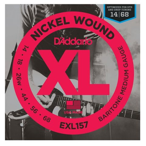 D'Addario EXL157 Nickel Wound Electric Guitar Strings, Baritone Medium, 14-68