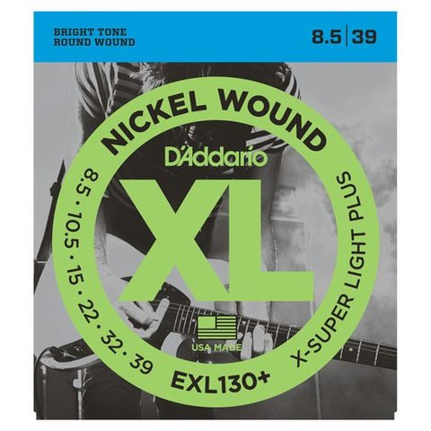 D'Addario EXL130+ Nickel Wound Electric Strings, Extra-Super Light Plus, 8.5-39