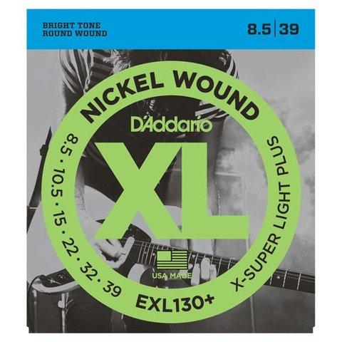 D'Addario EXL130+ Nickel Wound Electric Strings, Extra-Super Light Plus, 8.5-39