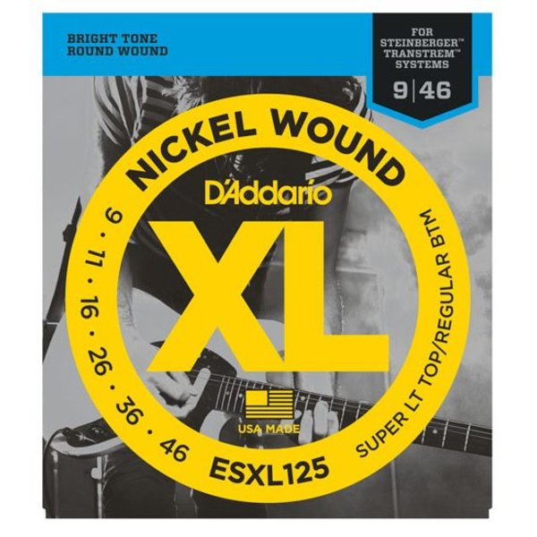 D'Addario D'Addario ESXL125 Nickel Wound Elec Guitar Strings, Super Light Top/ Reg Bottom, Dbl Ball End, 9-46
