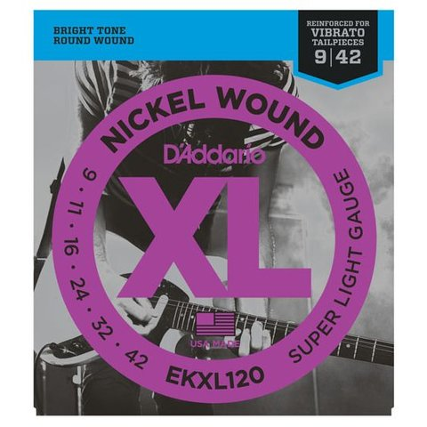 D'Addario EKXL120 Nickel Wound Electric Strings, Super Light, Reinforced, 9-42
