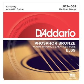 D'Addario D'Addario EJ39 12-String Phosphor Bronze Acoustic Guitar Strings, Medium, 12-52