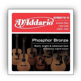 D'Addario D'Addario EPBB170-5 Phosphor Bronze 5-String Acoustic Bass, Long Scale, 45-130