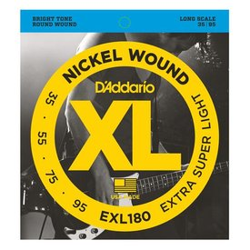 D'Addario D'Addario EXL180 Nickel Wound Bass Strings, Extra Super Light, 35-95, Long Scale