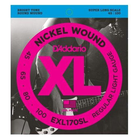 D'Addario EXL170SL Nickel Wound Bass Guitar Strings, Light, Super Long Scale