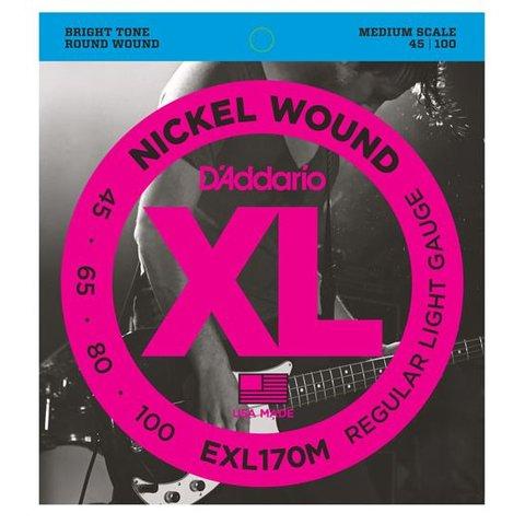 D'Addario EXL170M Nickel Wound Bass Guitar Strings, Light, 45-100, Medium Scale