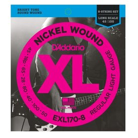 D'Addario D'Addario EXL170-8 8-String Nickel Wound Bass Strings, Light, 32-130, Long Scale