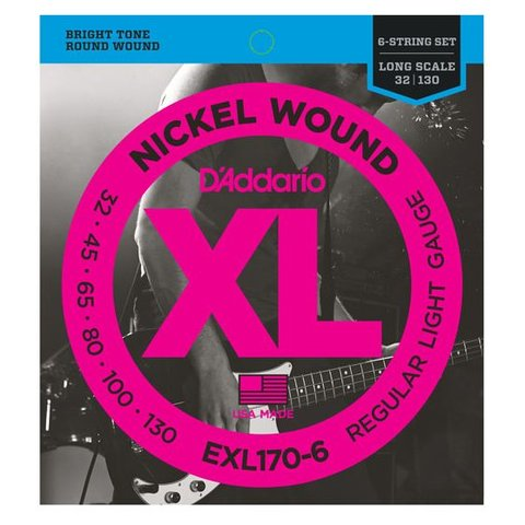 D'Addario EXL170-6 6-String Nickel Wound Bass Strings, Light, 32-130, Long Scale