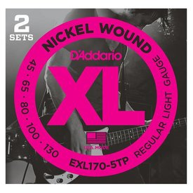 D'Addario Fretted D'Addario EXL170-5TP Nickel Wound Bass Guitar Strings, Light, 45-130, 2 Sets, Long Scale