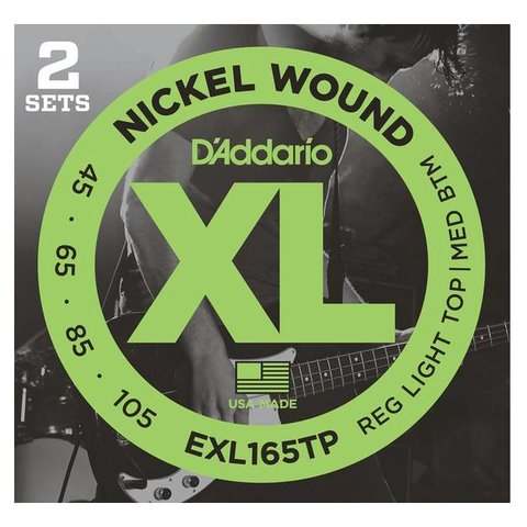 D'Addario EXL165TP Nickel Wound Bass Guitar Strings, Custom Light, 45-105, 2 Sets, Long Scale