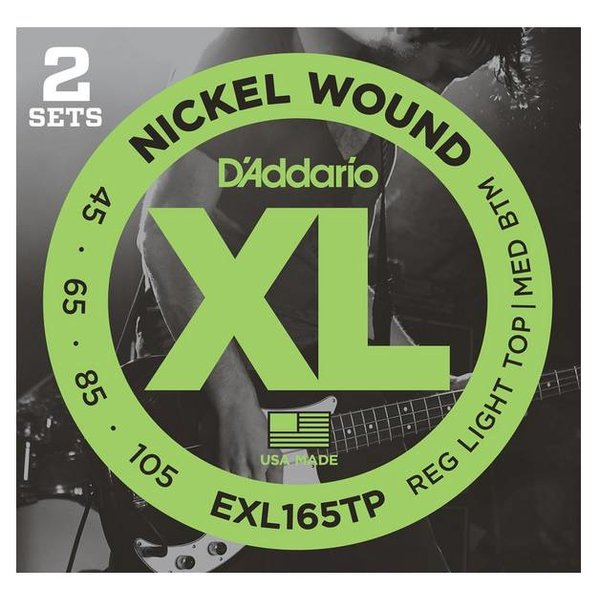 D'Addario Fretted D'Addario EXL165TP Nickel Wound Bass Guitar Strings, Custom Light, 45-105, 2 Sets, Long Scale
