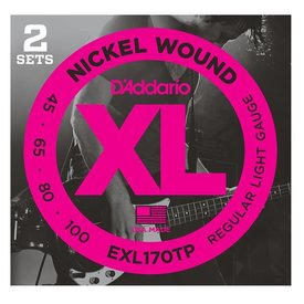 D'Addario Fretted D'Addario EXL170TP Nickel Wound Bass Guitar Strings, Light, 45-100, 2 Sets, Long Scale