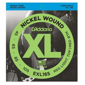D'Addario Fretted D'Addario EXL165 Nickel Wound Bass Guitar Strings, Custom Light, 45-105, Long Scale