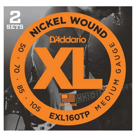 D'Addario EXL160TP Nickel Wound Bass Strings, Medium, 50-105, 2 Sets, Long Scale