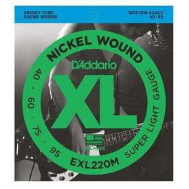 D'Addario D'Addario EXL220M Nickel Wound Bass Strings, Super Light, 40-95, Medium Scale