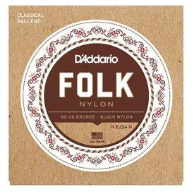 D'Addario D'Addario EJ34 Folk Nylon Strings, Ball End, 80/20 Bronze/Black Nylon Trebles