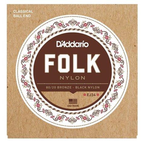 D'Addario EJ34 Folk Nylon Strings, Ball End, 80/20 Bronze/Black Nylon Trebles
