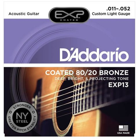 D'Addario EXP13 Coated 80/20 Bronze Acoustic Guitar Strings, Custom Light, 11-52