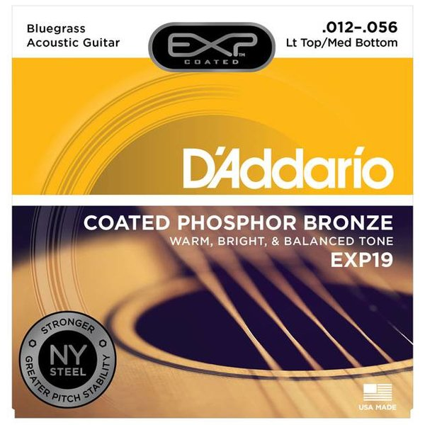D'Addario D'Addario EXP19 Coated Phosphor Bronze Acoustic Lt Top/Med Bot/Bluegrass, 12-56