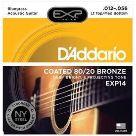 D'Addario D'Addario EXP14 Coated 80/20 Bronze Acoustic, Lt Top/Med Bottom/Bluegrass, 12-56