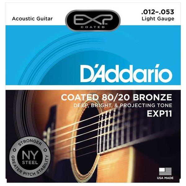 D'Addario D'Addario EXP11 Coated Acoustic Guitar Strings, 80/20, Light, 12-53