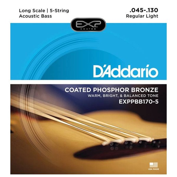 D'Addario D'Addario EXPPBB170-5 Phosphor Bronze Coated 5-String Acou Bass Lng Scale 45-130