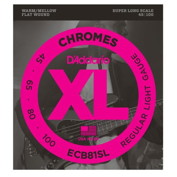 D'Addario D'Addario ECB81SL Chromes Bass Guitar Strings, Light, 45-100, Super Long Scale