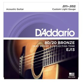 D'Addario D'Addario EJ13 80/20 Bronze Acoustic Guitar Strings, Custom Light, 11-52