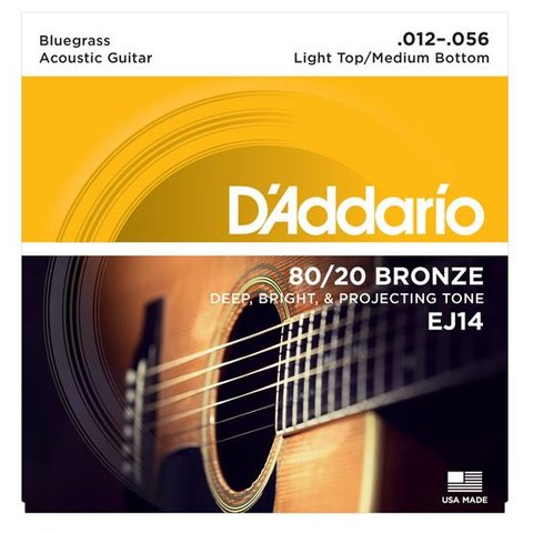 D'Addario EJ14 80/20 Bronze Acoustic, Light Top/Medium Bottom/Bluegrass, 12-56