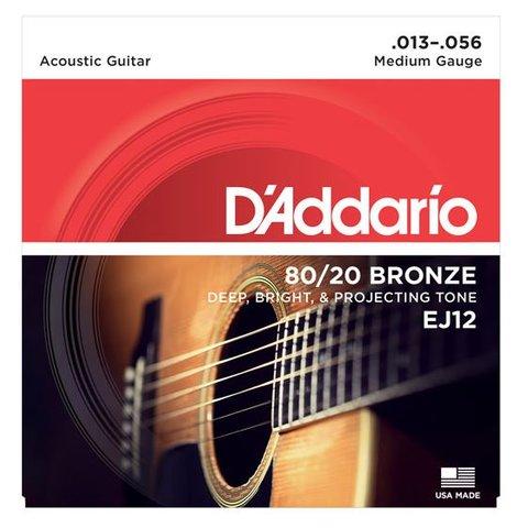 D'Addario EJ12 80/12 Bronze Acoustic Guitar Strings, Medium, 13-56