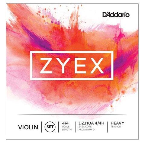 D'Addario Zyex Violin String Set with Silver D, 4/4 Scale, Heavy Tension