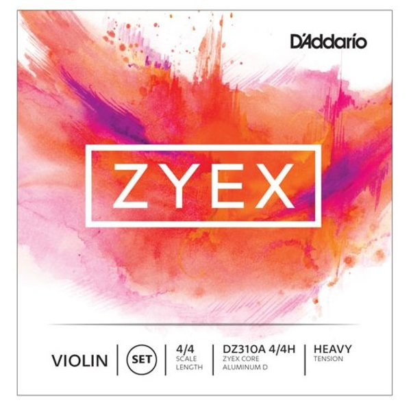D'Addario Orchestral D'Addario Zyex Violin String Set with Silver D, 4/4 Scale, Heavy Tension
