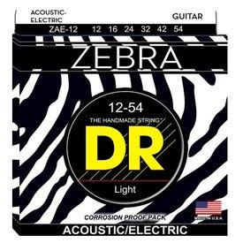 DR Handmade Strings DR Strings ZAE-12 Zebra Acoustic-Electric Strings, Round Core, Medium, 12-54