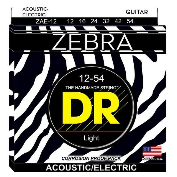 DR Handmade Strings DR Strings ZAE-12 Zebra Acoustic-Electric Strings, Round Core, Medium, 12-54