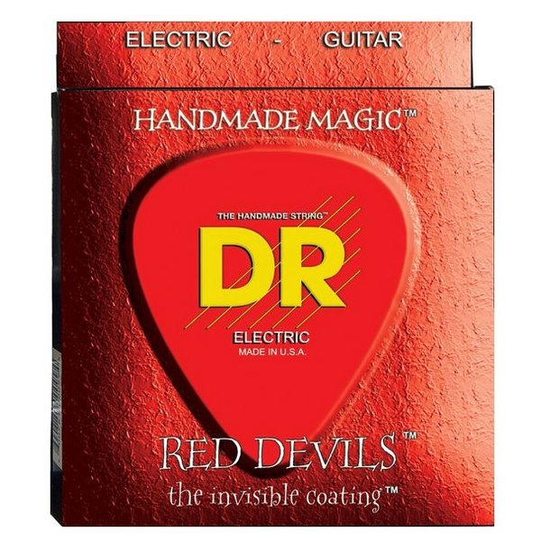DR Handmade Strings DR RDE-9 Red Devils Coated Electric Guitar Strings, Light, 9-42