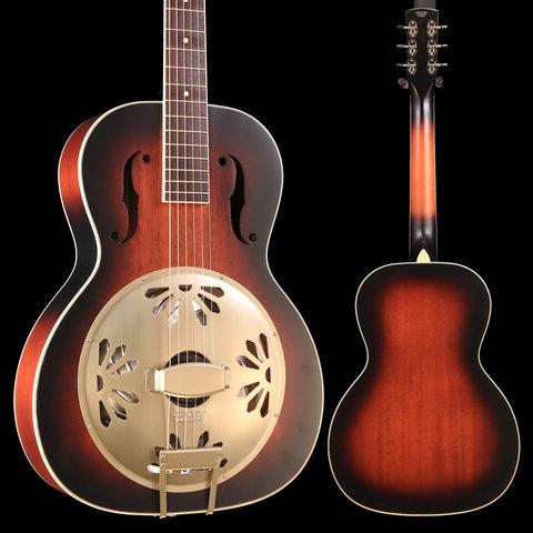 G9241 Alligator Biscuit Round-Neck Resonator Guitar with Fishman Nashville Pickup, 2-Color Sunburst S/N CAXR191455