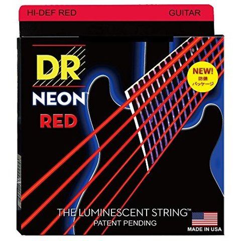 DR Strings NRE-10 Medium Hi-Def NEON RED Coated Electric: 10, 13, 17, 26, 36, 46