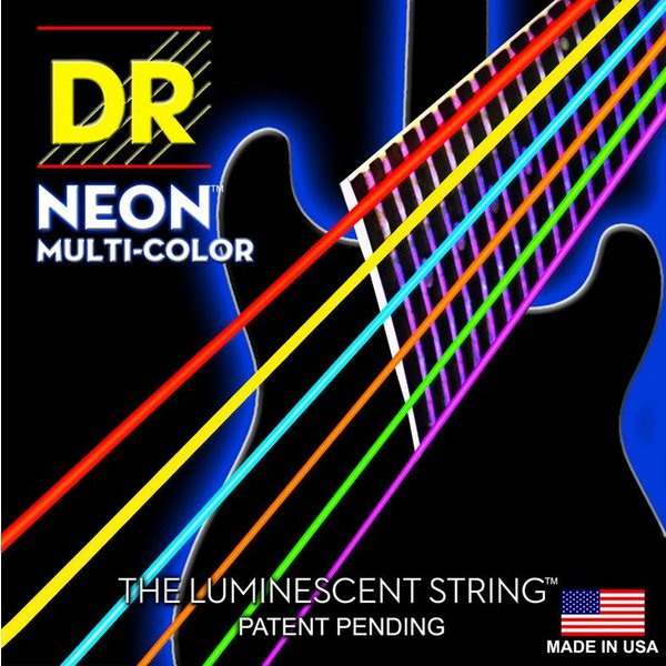 DR Handmade Strings DR Strings NMCE-9 Light Hi-Def NEON Multi-Color: Coated: 9, 11, 16, 24, 32, 42