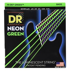 DR Handmade Strings DR Strings NGB5-45 Med 5's Hi-Def NEON GREEN: Coated Bass: 45, 65, 85, 105, 125