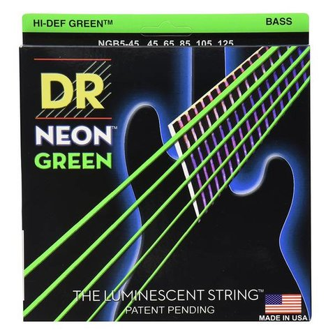 DR Strings NGB5-45 Med 5's Hi-Def NEON GREEN: Coated Bass: 45, 65, 85, 105, 125