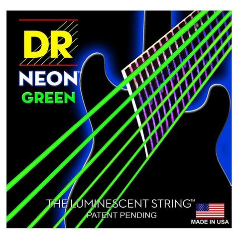 DR Strings NGE-9 Light Hi-Def NEON GREEN: Coated Electric: 9, 11, 16, 24, 32, 42