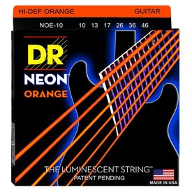 DR Handmade Strings DR Strings NOE-10 Med Hi-Def NEON ORANGE Coated Electric: 10, 13, 17, 26, 36, 46