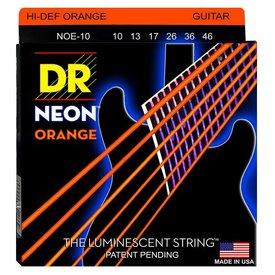 DR Handmade Strings DR Strings NOE-10 Med Hi-Def NEON ORANGE Coated Electric: 10, 13, 17, 26, 36, 46