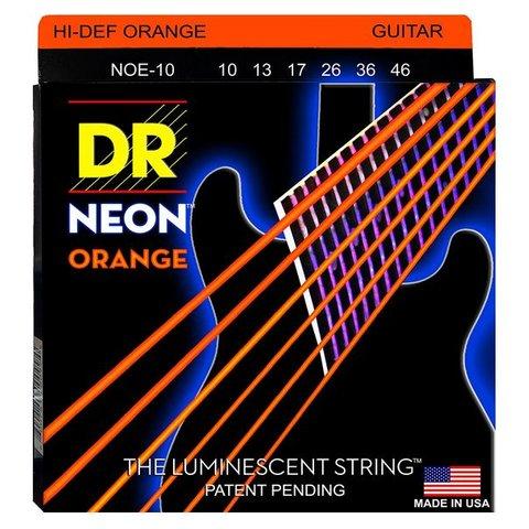 DR Strings NOE-10 Med Hi-Def NEON ORANGE Coated Electric: 10, 13, 17, 26, 36, 46