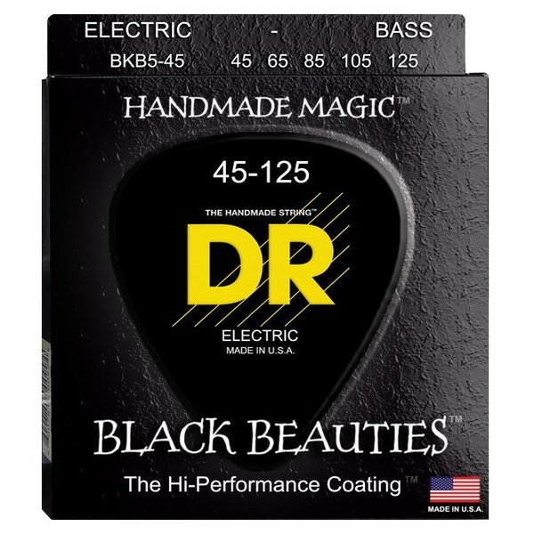 DR Handmade Strings DR Strings BKB5-45 Med 5's BLACK BEAUTIES Coated Bass: 45, 65, 85, 105, 125