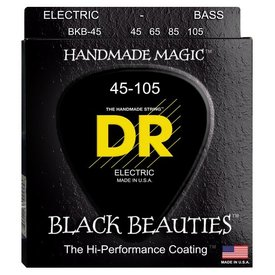 DR Handmade Strings DR Strings BKB-45 Medium BLACK BEAUTIES  - BLACK Coated Bass: 45, 65, 85, 105
