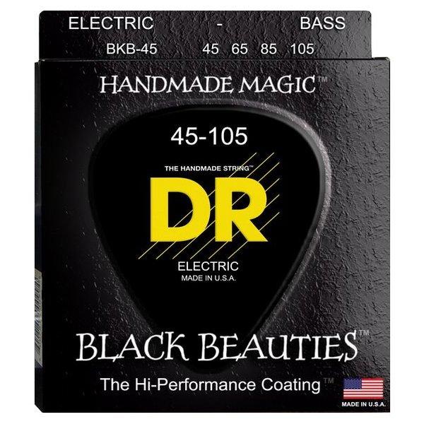 DR Handmade Strings DR Strings BKB-45 Medium BLACK BEAUTIES  - BLACK Coated Bass: 45, 65, 85, 105