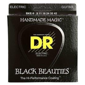 DR Handmade Strings DR Strings BKE-9 Light-Tight BLACK BEAUTIES Coated Elec: 9, 11, 16, 24, 32, 42